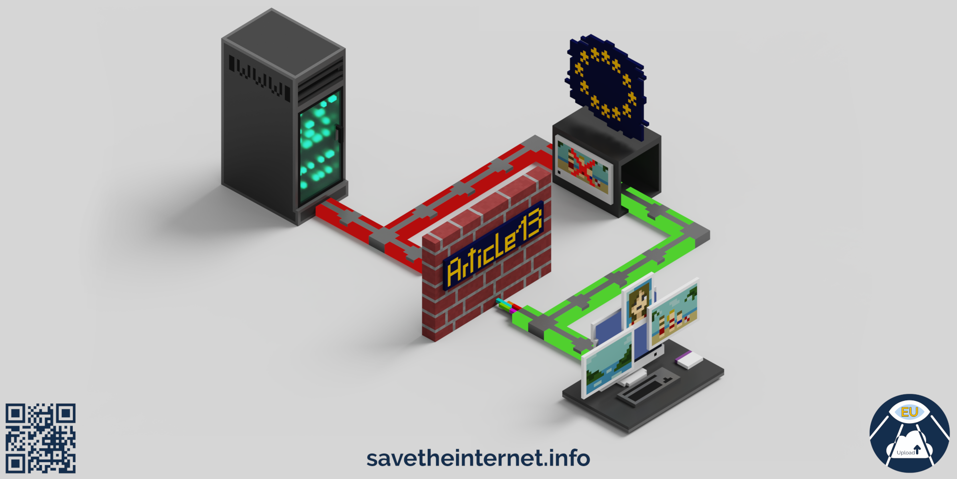 illustration with blocked servers because of article 13